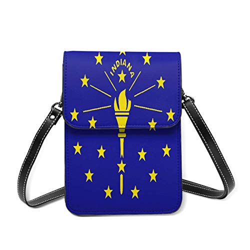 XCNGG Lightweight Leather Phone Purse for Women, American Flag Patriotic Indiana State Flag Small Crossbody Bag Mini Cell Phone Pouch Shoulder Bag