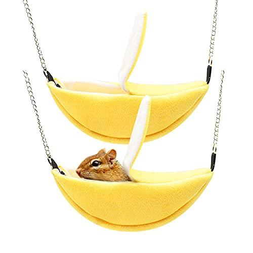 Hamster Bed, Sugar Glider Cage Accessories Hamaca, Hamster House Toys para pequeños animales Azúcar Glider Ardilla, hámster, ratas jugando durmiendo (plátano)