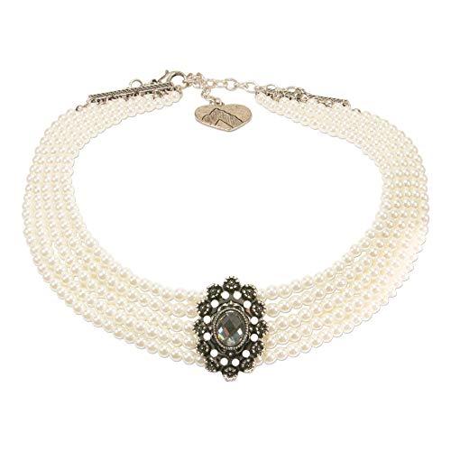 Alpenflüstern Trachten-Perlen-Kropfkette Luzia - nostalgische Trachtenkette, eleganter Damen-Trachtenschmuck, Dirndlkette Creme-weiß DHK227