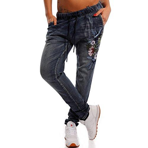 Damen Boyfriend Jeans Hose Jogger Style Freizeithose mit Flower-Power, Farbe:Blau;Größe:38/M