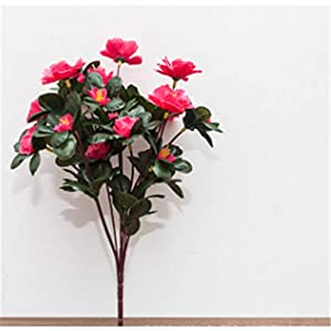 Baisheng Artificial Flowers Rhododendron simsii Planch Silk Flower Party Festival Xmas Bouquets Home Wedding Decoration(6 Bunch-Rose Red)
