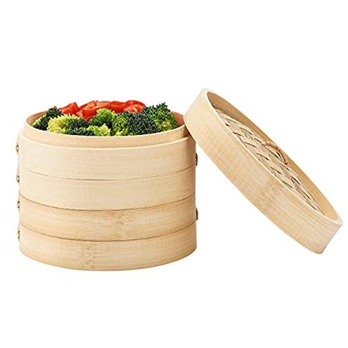 Kamenda Cuocivapore Cestello per Cottura a Vapore, Vaporiera in Bambù 2 Livelli con Coperchioper Riso, Verdure, Carne, Pesce