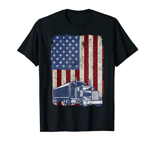 Diseño vintage de la bandera americana camionero estadounidense camión conductor grunge Camiseta