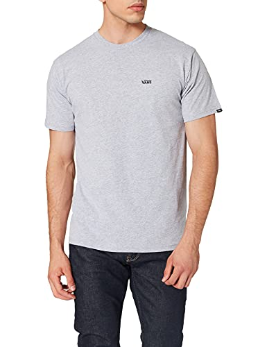 Vans Left Chest Logo Tee T-Shirt, Athletic Heather-Nero, M Uomo