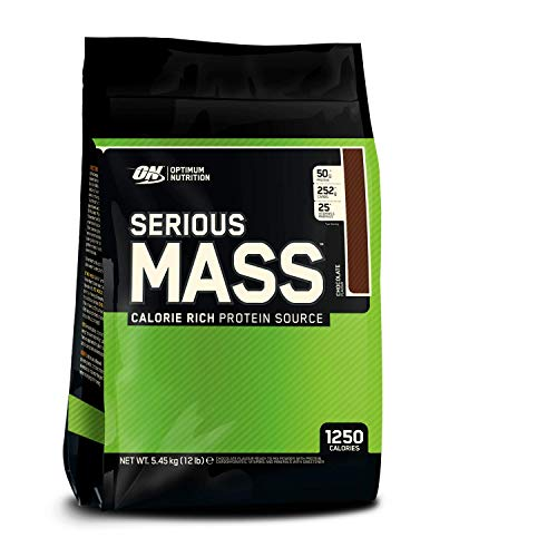 Optimum Nutrition ON Serious Mass proteina en polvo mass gainer alto en proteína, con vitaminas, creatina y glutamina, chocolate, 16 porciones, 5.45 kg