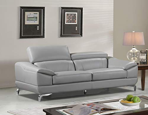 Cortesi Home Vegas Genuine Leather Sofa with Adjustable Headrests, Gray, 82.5'