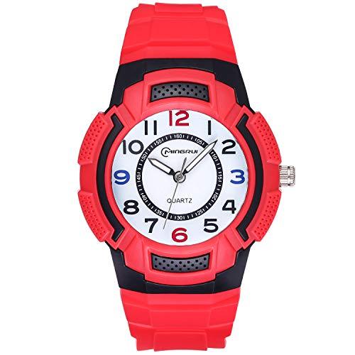 Reloj para niños, Reloj para niños Relojes Deportivos a Prueba de Agua para niños y niñas, Reloj de Cuarzo Banda de Silicona Impermeable, Mejor Regalo