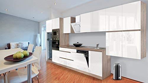 respekta Premium bezuchwytowy aneks kuchenny kuchnia 445 cm dąb cięty surowy imitacja biały wysoki połysk wraz z cichym domykaniem / lodówką 144 cm i płytą grzewczą z ceramiki szklanej