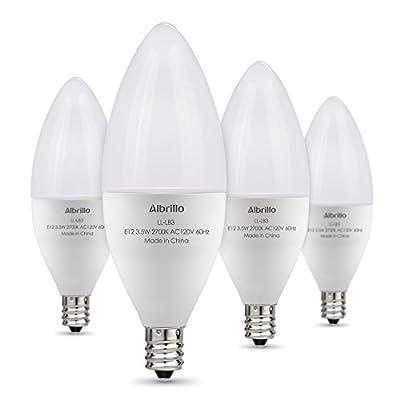Albrillo E12 LED Candelabra Bulb 4W, 40 Watt Light Bulbs Equivalent, 4 Pack