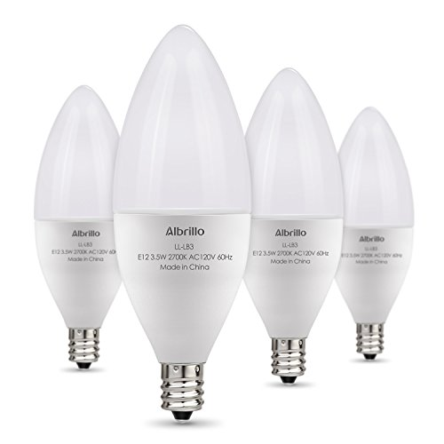 Albrillo E12 Bulb, LED Candelabra Light Bulbs 40 Watt Equivalent, Warm White LED Chandelier Bulbs, Decorative Candle Base E12 Non-Dimmable, Pack of 4