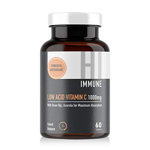 HI IMMUNE Vitamin C 1000mg 60 Tablets with Acerola for Maximum Absorption - Low Acid Time Release Vitamin C with Rose Hip - Low Acid Gentle on The Stomach - VIT C Supplement