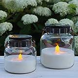 Gadgy Set di 2 vasetti di vetro solare candela di vetro | Candele solari decorative all'aperto | Impermeabile | Luci da giardino | Lanterne da giardino