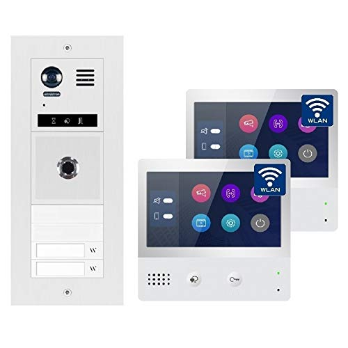 2-Draht Bus IP Video Türsprechanlage Fingerprint, 2 Familienhaus Set, 7'' Monitor mit oder ohne WLAN, 2x7'' Monitor mit WLAN