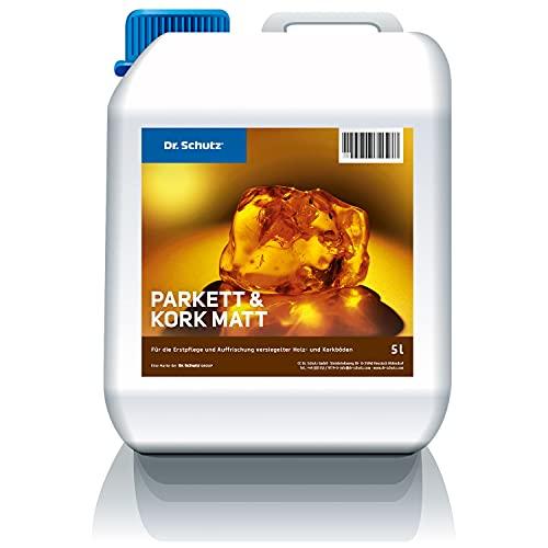 Dr. Schutz Parkett und Kork Matt 5 L   bildet matten Pflegefilm und schützt vor Kratzern und Gehspuren   für alle wasserfest versiegelten Parkettböden und Korkböden   wasserbasiert   Made in Germany, 78015772