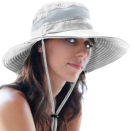 GearTOP Womens Foldable Wide Brim Hat for Travel and Hiking Sun Hats with UV Protection Against Premature Aging & Sun Damage (Light Grey, 7-7 1/2)