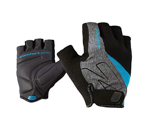Ziener Erwachsene CRAVE Fahrrad-, Mountainbike-, Radsport-handschuhe | Kurzfinger - atmungsaktiv/dämpfend, grey melange.persian blue, 9,5