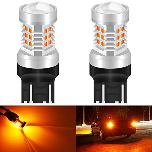 KATUR 7443 7444NA Ampoules LED Jaune Haute Puissance 2835 Jeu de puces extrêmement Lumineux avec projecteur pour Clignotants (Pack de 2)