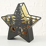 CasaJame Hogar Jardín Decoración Interiór Accesorios Adorno Candelabro Farol con Vela Decorativa en Forma de Estrella Motivo Bosque Ciervo 24 x 25 x 8 cm