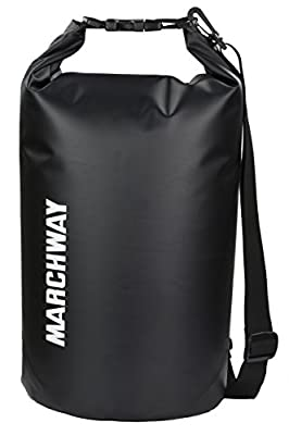 MARCHWAY Floating Waterproof Dry Bag 5L/10L/20L/30L/40L, Roll Top Sack Keeps Gear Dry for Kayaking, Rafting, Boating, Swimming, Camping, Hiking, Beach, Fishing (Black, 5L)