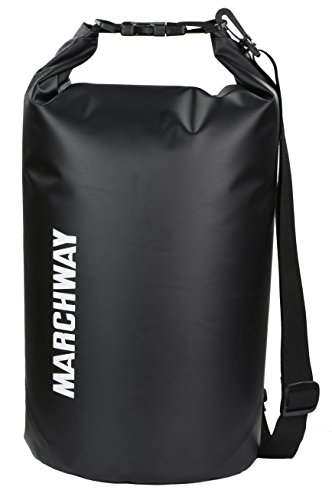 Floating Waterproof Dry Bag 5L/10L/20L/30L, Roll Top Sack Keeps Gear Dry for Marine Kayaking Rafting Boating Swimming Camping Hiking Beach Fishing Backpacking Surfing Skiing Snowboarding (Black, 20L)