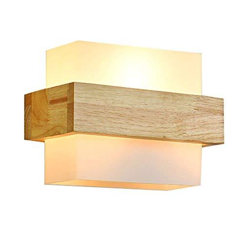 GENGJ Moderno Minimalista Vidrio lámpara de Pared de Madera Lámpara de Pared de la cabecera Estudio Creativo salón balcón Escalera Pasillo lámpara de Pared Aplique