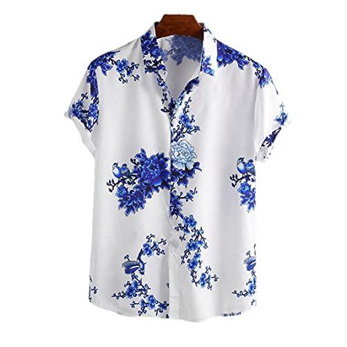 NIDONE Hommes Casual Shirt Imprimer Chemise et Cravat à Encre Teinture Hawaiian Chemise Beach à Manches Courtes T-Shirts Casual Bouton Tapis Tops Bleu XL