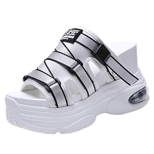 COOLCEPT Damen Causal Keilabsatz Pantoletten Plateau Mules Sandalen Sommer Schuhe Absatz White Gr 35