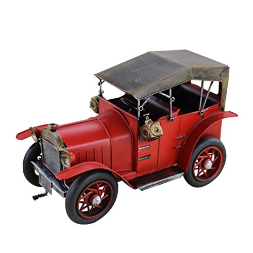 IMIKEYA Metal Truck Antique Vintage Car Model Metal Vintage Car Ornaments Collections Collectible Vehicle Model Home Decoration (Red)