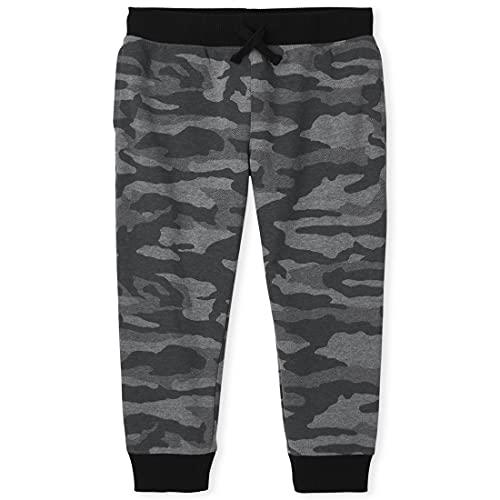The Children's Place Boys' Active Camo Fleece Jogger Pants, Gray Steel, X-Small