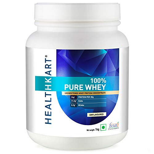 HealthKart 100% Pure Raw Whey Protein Concentrate, 1 Kg/2.2 lb (Unflavoured)