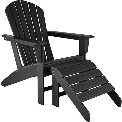 TecTake 800818 Adirondack Gartenstuhl mit Fußablage, Holzoptik, Gartensessel mit Breiten Armlehnen und Fußhocker, für Garten, Terrasse und Balkon, wetterfest (Schwarz | Nr. 403802)