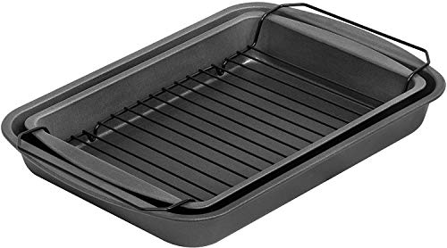 G & S Metal Products Company ProBake Teflon Nonstick Bake, Broil, and Roast Pan, 3-Piece Set, Charcoal