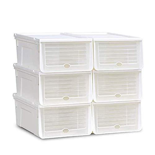 Range-chaussures Shoe Box_6 Cube Empilable Armoire À Chaussures Rangement Organisateur Tiroir Boîte En Plastique Avec Porte Claire Pour Dames Blanc/Bleu/Rose/Vert Ailin home