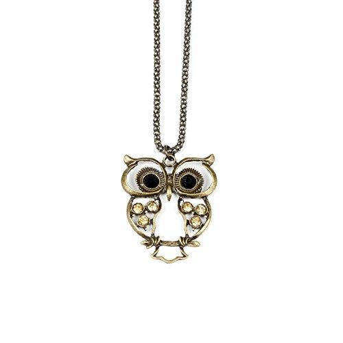 New WL Fashion Halskette mit witzig-schickem Eulen-Anhänger in antikem Farbton (Gold) 030-00027