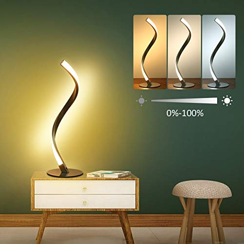 LED Nachttischlampe Spiral Tischleuchte,Tomshine 6W Tischleuchte Berühren Dimmbar 3 Beleuchtungsfarben Nachttischlampe Nachttischlampe für Schlafzimmer Wohnzimmer Büro[Energieklasse A+]