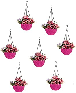 Round Gamla Pot Flower Hanging Round Rattan Woven Plastic Flower Hanging Basket for Garden Balcony Pink (Pack of 7)