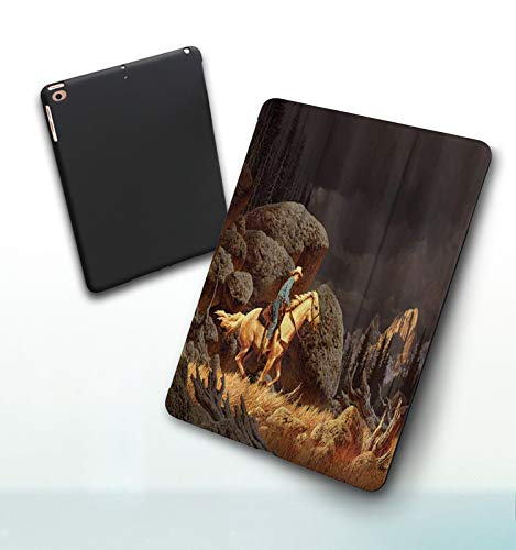 Funda para iPad 9,7 Pulgadas, 2018/2017 Modelo, 6ª / 5ª generación,Paisaje de montaña de Roca Occidental con Vaquero a Caballo Estilo norteamericano, Smart Leather Stand Cover with Auto Wake/Sleep