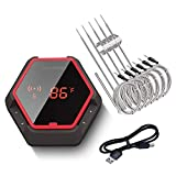 Inkbird Grill Bluetooth BBQ Thermometer Wireless IBT-6XS, 6 Probes Digital Smoker Grill Thermometer for Cooking,150ft Bluetooth Meat Thermometer, Magnet, Timer, Alarm for Kitchen, Food, Red