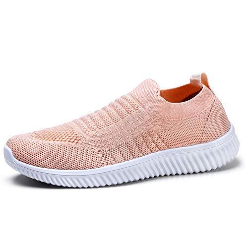 HKR Damen Walkingschuhe Atmungsaktive Sportschuhe Weiche Damenschuhe Jogging Fitness Schuhe Krankenschwester Schuhe Pink EU 40