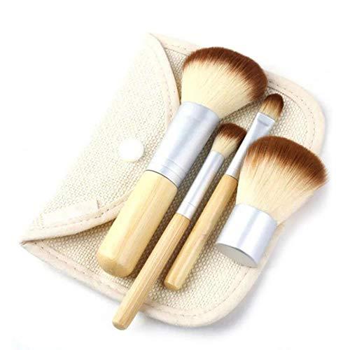 Yener 7-delige make-up borstel set met doos gezichtspoeder foundation borstel oogschaduw applicator borstel cosmetische make-up tools, 4 stuks wit met tas