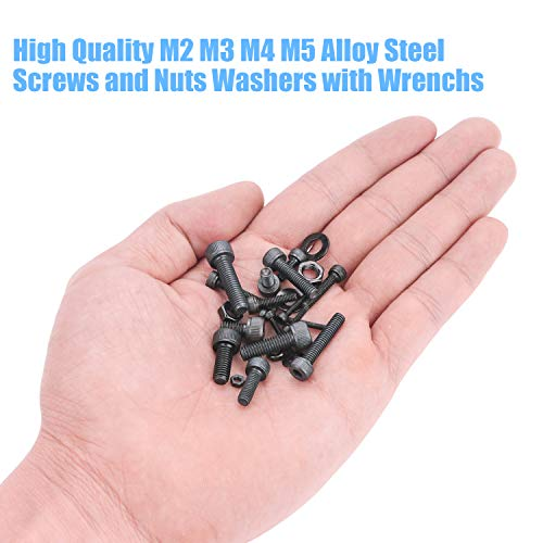 Black Oxide Finish Glarks 510Pcs M3 M4 M5 12.9 Grade Alloy Steel Socket Cap Bolts Screws with Nuts Assortment Kit