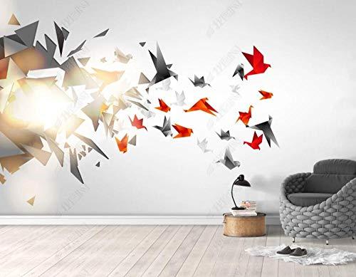 Papel Pintado Pared Papel Figura Geométrica Origami Pájaro Volador Brillante Fotomurales 3d Decoración Papel Tapiz Dormitorio Sala Custom Murales Fondo Pared 200x140cm