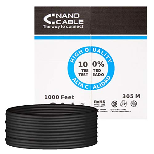 NANOCABLE 10.20.0504-EXT-BK - Cable de Red Ethernet RJ45 Cat.6 UTP para Exterior, Color Negro