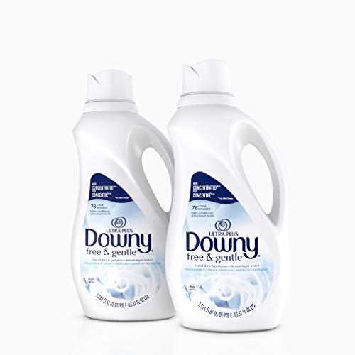 Downy Ultra Plus Free & Gentle Liquid Fabric Conditioner (Fabric Softener), Concentrated, 51 oz Bottles, 2 Pack, 152 Loads Total