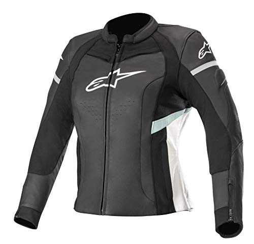 Alpinestars Chaqueta moto Stella Kira Leather Jacket Black White Teal, Negro/Azul/Blanco, 48