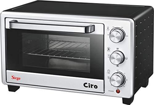 Sirge FORNO20L Mini - Ofen 20 Liter 1380 Watt mit Timer Mini Backofen Pizzaofen DOPPELGLAS (A13) und Anti-Verbrühungsgriff - 60 Minuten Timer - Einstellbarer Thermostat: 100 - 250C