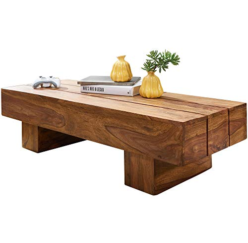 FineBuy Coffee table Sheesham Solid wood 120x30x45 cm Country-Style Side table | Living Room table Elegant Big | Designer End table