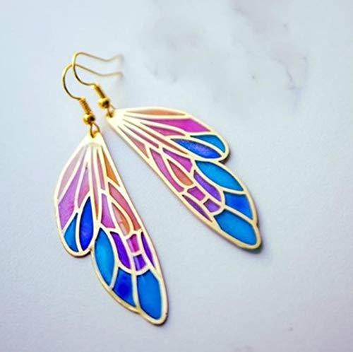 SALAN Moda Estilo Fantasía Colorido Mariposa Alas Mujeres Pendiente Temperamento Mujeres Encanto...