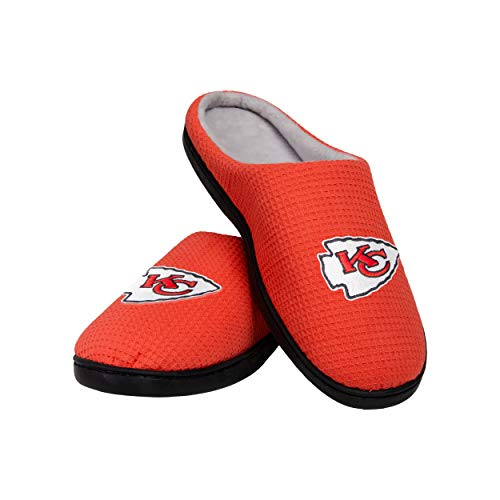 FOCO Kansas City Chiefs NFL Mens Memory Foam Slide, Team Color, l (11-12) (SLPNFMYFM)