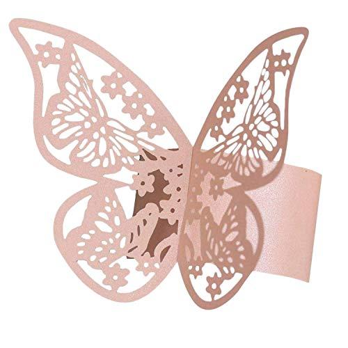 Senmubery 50 StüCke 3D Schmetterling Papier Servietten Ringe für Hochzeiten Party Serviette Tisch Dekoration Schmetterling Servietten Ringe
